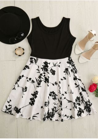 Floral Splicing Sleeveless Mini Dress