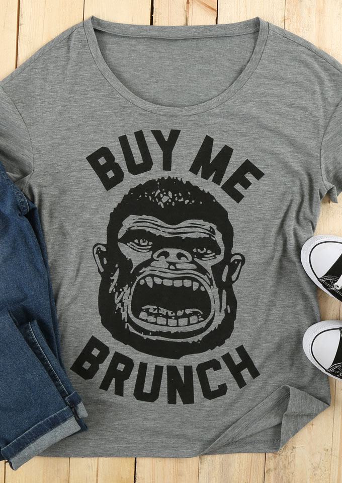 Buy me brunch champanzee printed t shirt bellelily for Buy me brunch shirts