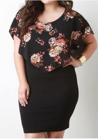 Floral Backless Splicing Bodycon Dress
