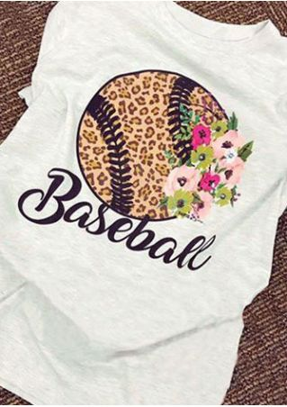 Baseball Floral Short Sleeve T-Shirt