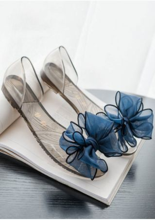Bow Knot Peep Toe Flat Sandals
