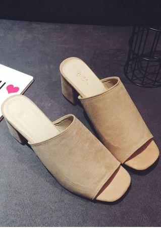 Summer Solid Heeled Sandals