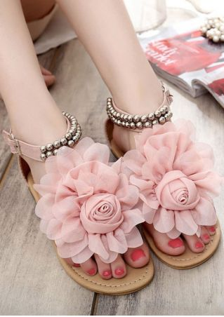 Flower Beading Buckle Strap Flat Sandals