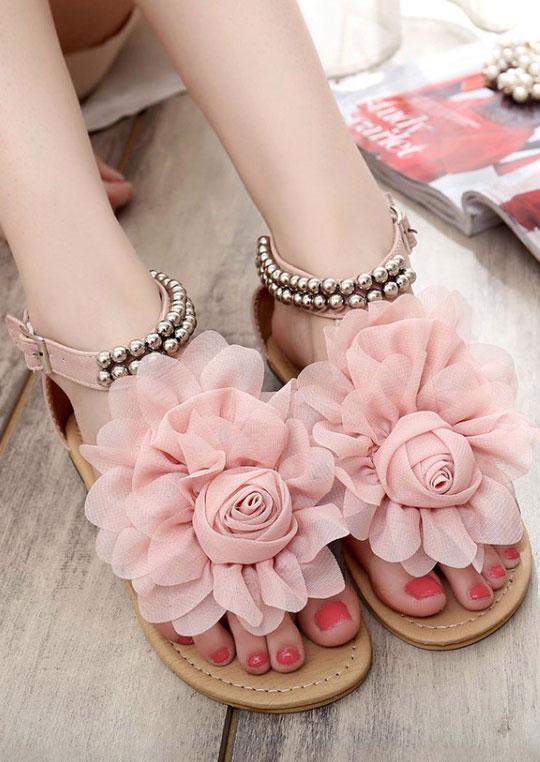 Flower Beading Buckle Strap Flat Sandals