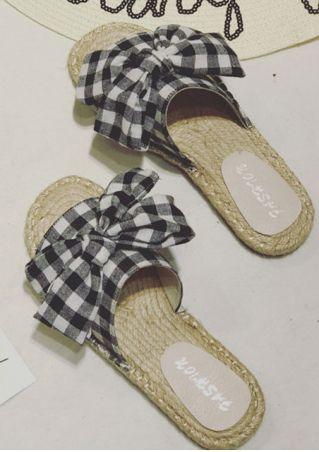 Plaid Bowknot Flat Slide Sandals