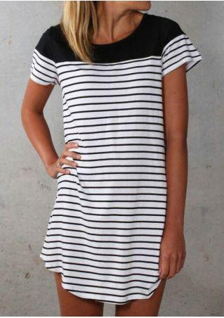 Striped Splicing Asymmetric Mini Dress