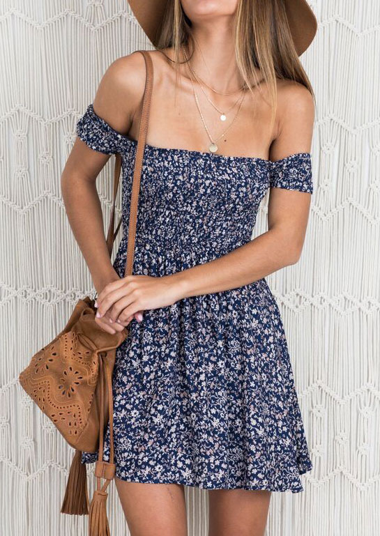 Floral Off Shoulder Mini Dress without Necklace 32623