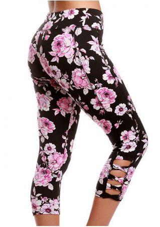 Floral Criss-Cross Sport Leggings