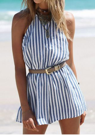 Striped Backless Romper without Necklace and Belt