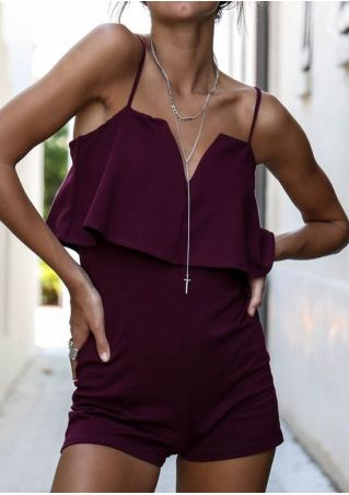 Solid Flouncing Spaghetti Strap Romper without Necklace