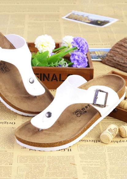 Summer Buckle Flat Flip Flops