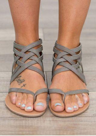Summer Cross-Tied Zipper Flat Sandals