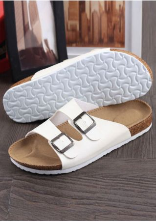 Summer Buckle Flat Slide Sandals