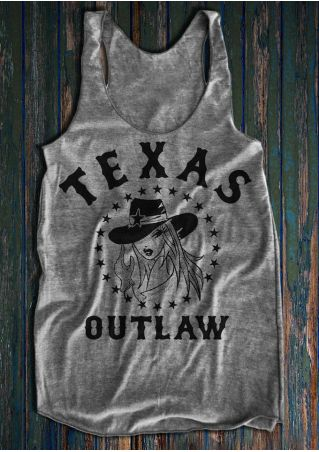Texas Outlaw Character Star Printed Tank