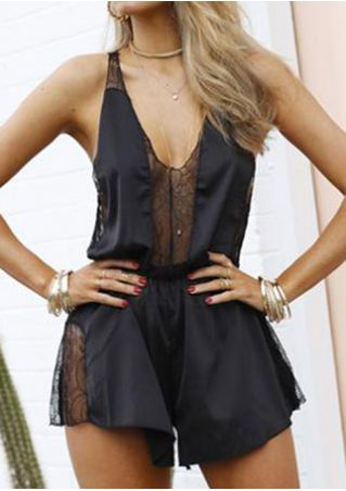 Solid Lace Splicing Romper without Necklace