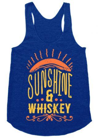 Sunshine & Whiskey O-Neck Racerback Tank