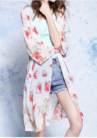 Floral Chiffon Three Quarter Sleeve Cardigan