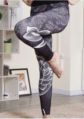 Floral Elastic Waist Skinny Leggings