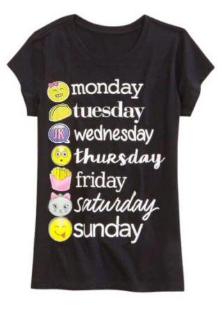 Emoji Weekday Short Sleeve T-Shirt