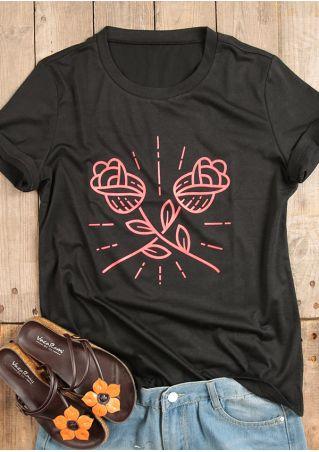 Rose O-Neck Short Sleeve T-Shirt