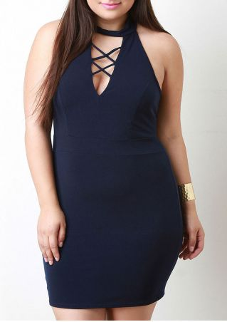 Solid Criss-Cross Bodycon Mini Dress