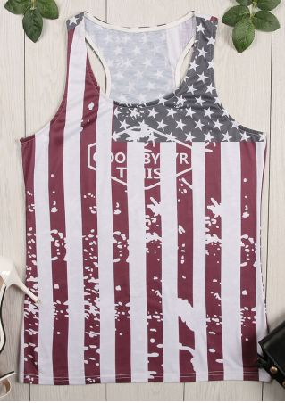 American Flag Printed O-Neck Tank
