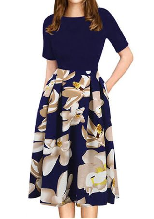 Floral Splicing O-Neck Casual Dress