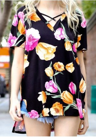Floral Criss-Cross Asymmetric Blouse