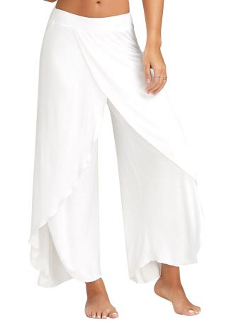 Solid Elastic Waist Split Wide Leg Pants