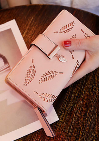 Solid Leaf Hollow Out Clutch Wallet