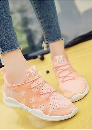 Letter Printed Lace Up Sneakers