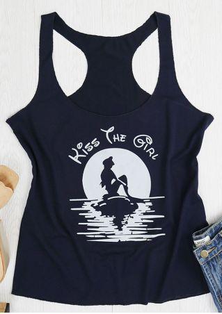 Kiss The Girl Mermaid Printed Tank