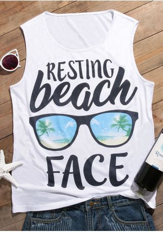 Resting Beach Face Glasses Tank