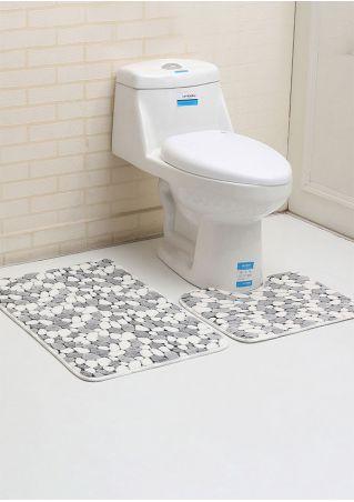 Cobblestone Leaf Antislip Bathroom Mat Set