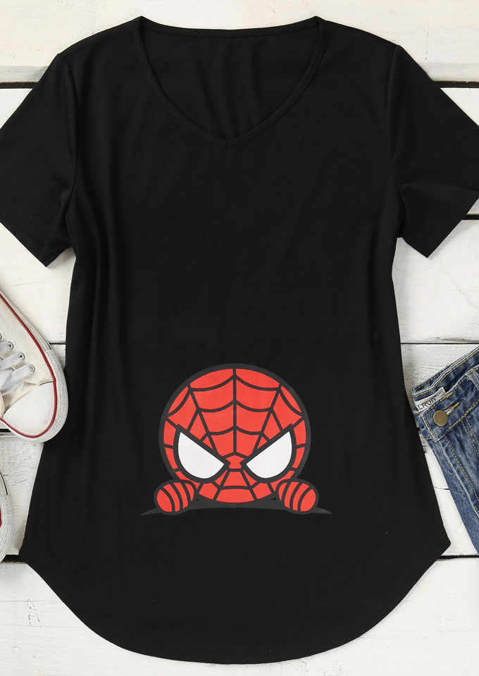 Spider-Man Printed V-Neck T-Shirt