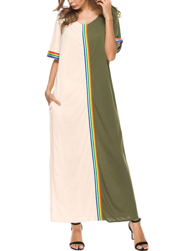 Color Block Short Sleeve Maxi Dress