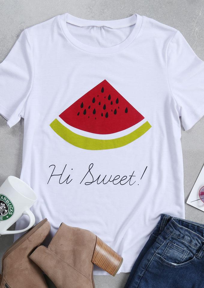 hi sweet watermelon printed t-shirt