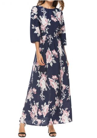 Floral Three Quarter Sleeve Maxi Dress