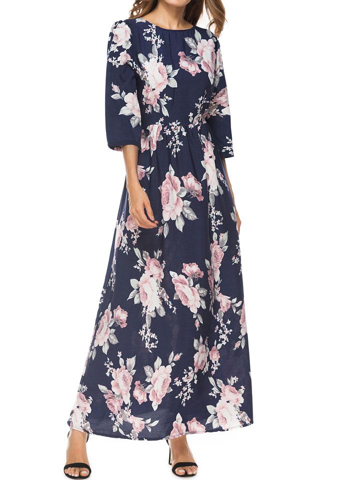 Floral Three Quarter Sleeve Maxi Dress