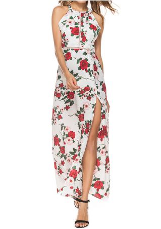 Floral Hollow Out Backless Slit Maxi Dress
