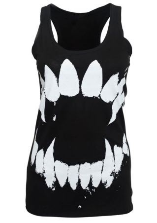 Tooth Printed O-Neck Racerback Tank
