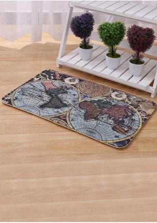 World Map Printed Floor Rug