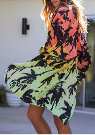 Coconut Tree Printed Long Sleeve Cover Up