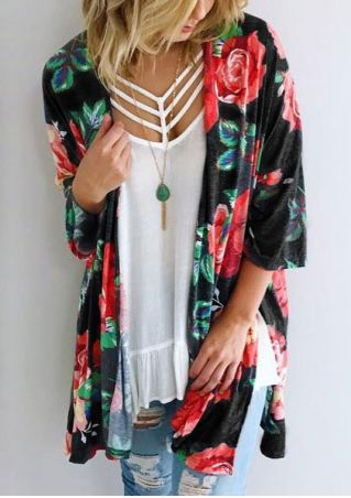 Floral Three Quarter Cardigan without Necklace