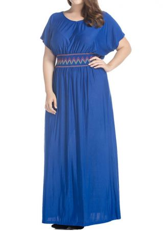 Batwing Sleeve O-Neck Maxi Dress