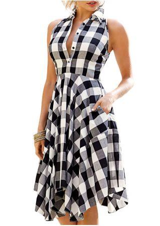 Plaid Asymmetric Sleeveless Button Casual Dress