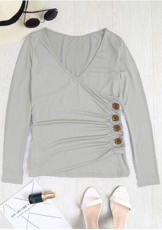 Solid Button V-Neck Wrap Blouse