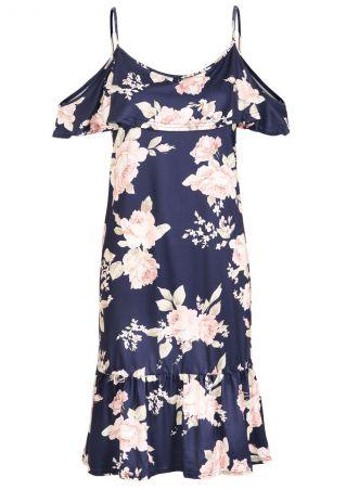 Floral Cold Shoulder Flouncing Mini Dress
