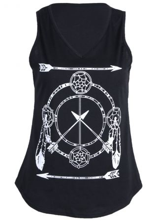 Dreamcatcher Arrow Printed V-Neck Tank