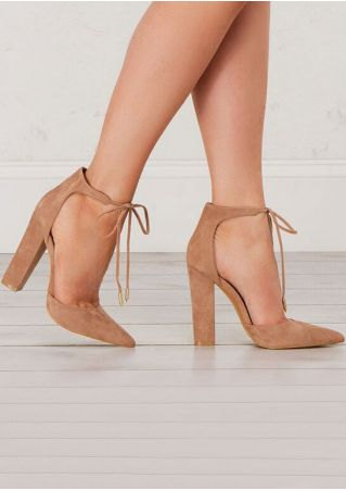 Solid Tie Pointed Toe Heeled Pumps